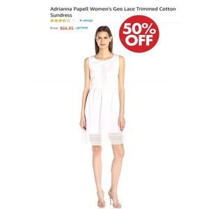 Adrianna Papell Geo Lace Trimmed Cotton Sundress